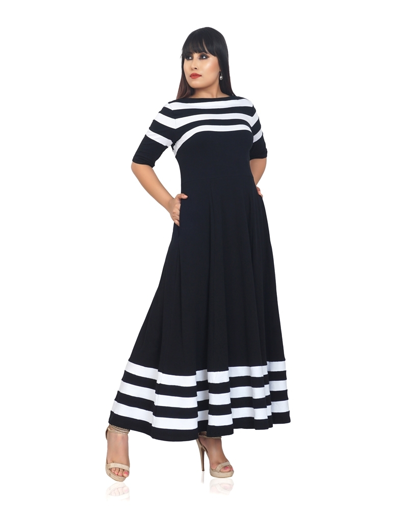 Flared Black Anika Dress with Stripes