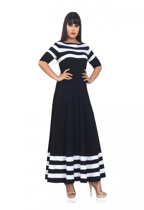 Black And White Striped Flared Dress