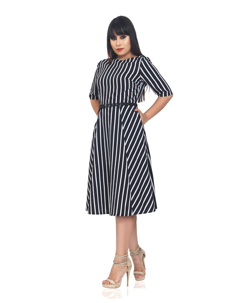WINNIE STRIPED CREPE DRESS
