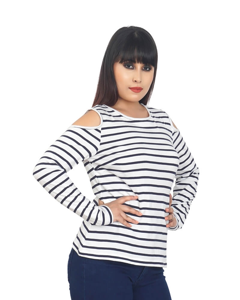 STRIPED SHOULDER TOP