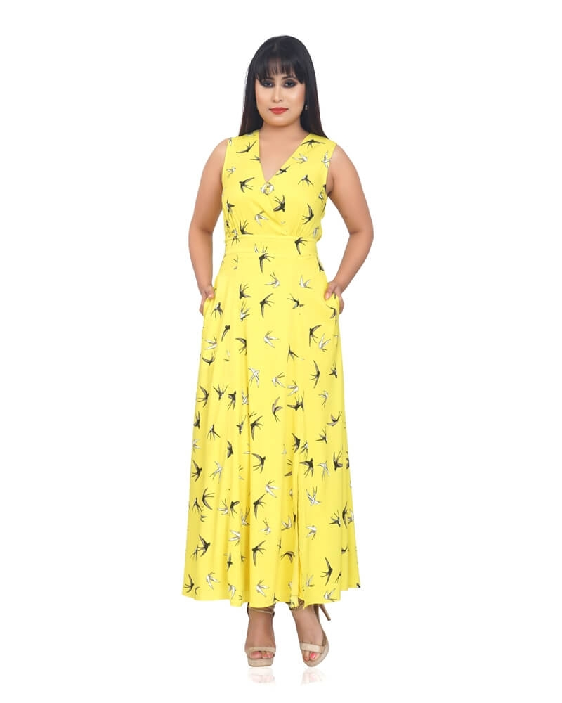 YELLOW SUNFLOWER PRINTED DRESS