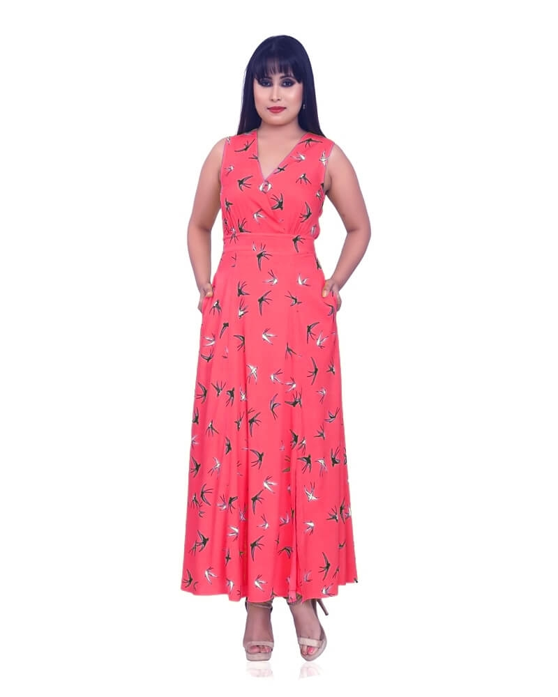 ROSE PINK BIRD PRINT DRESS