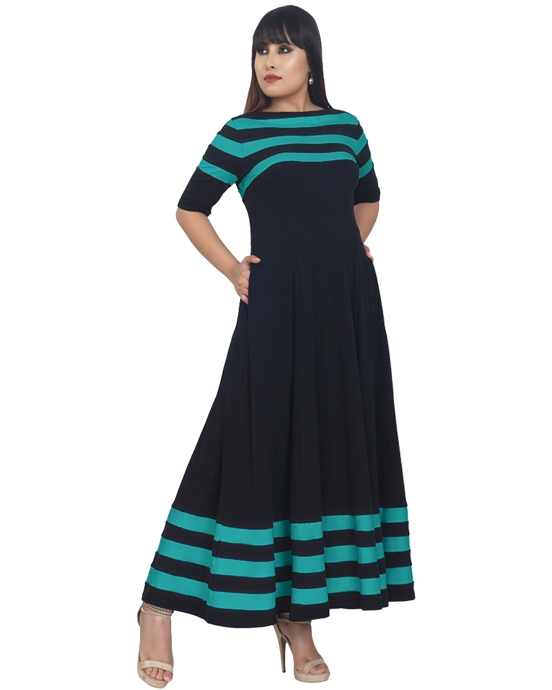 Flared Anika Dress with Stripes