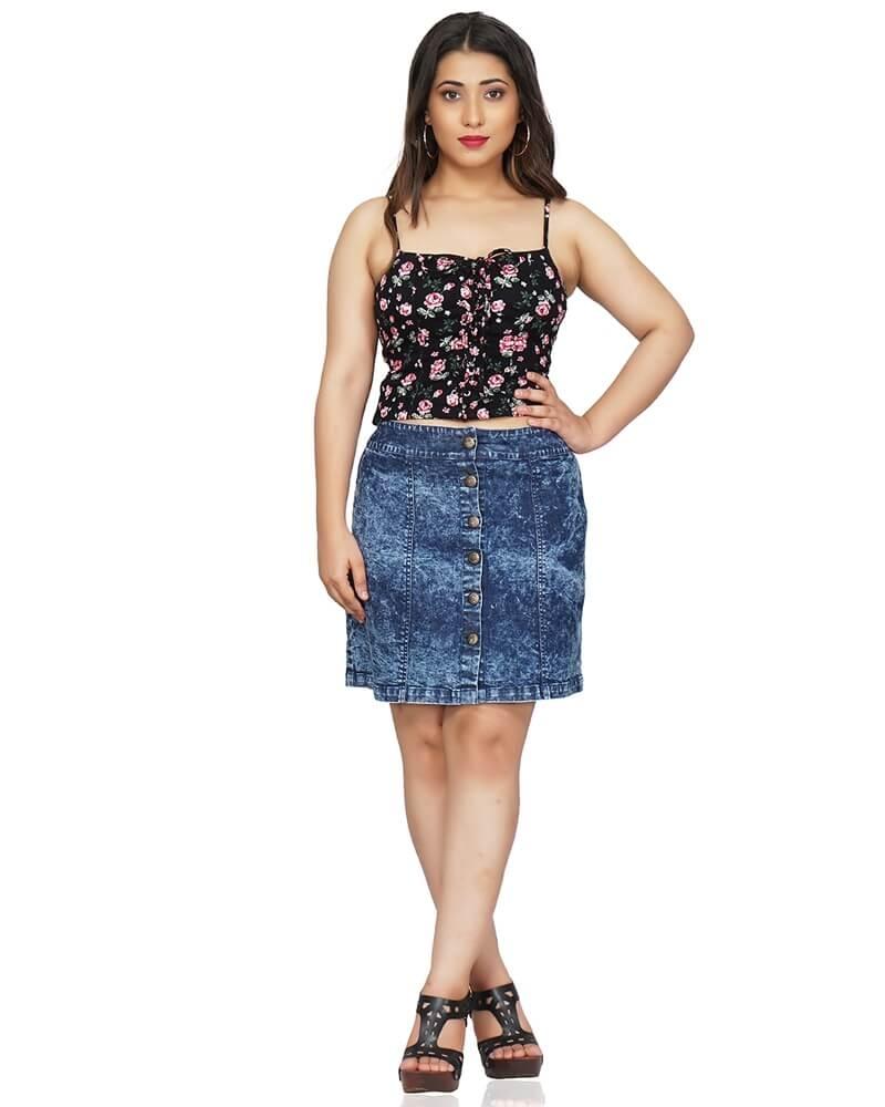 Blue Denim Short Mini Skirt