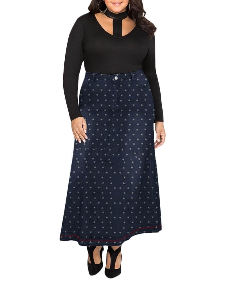 Reynolds printed denim maxi skirt