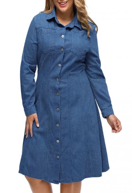 Abiah Flared Denim shirt dress