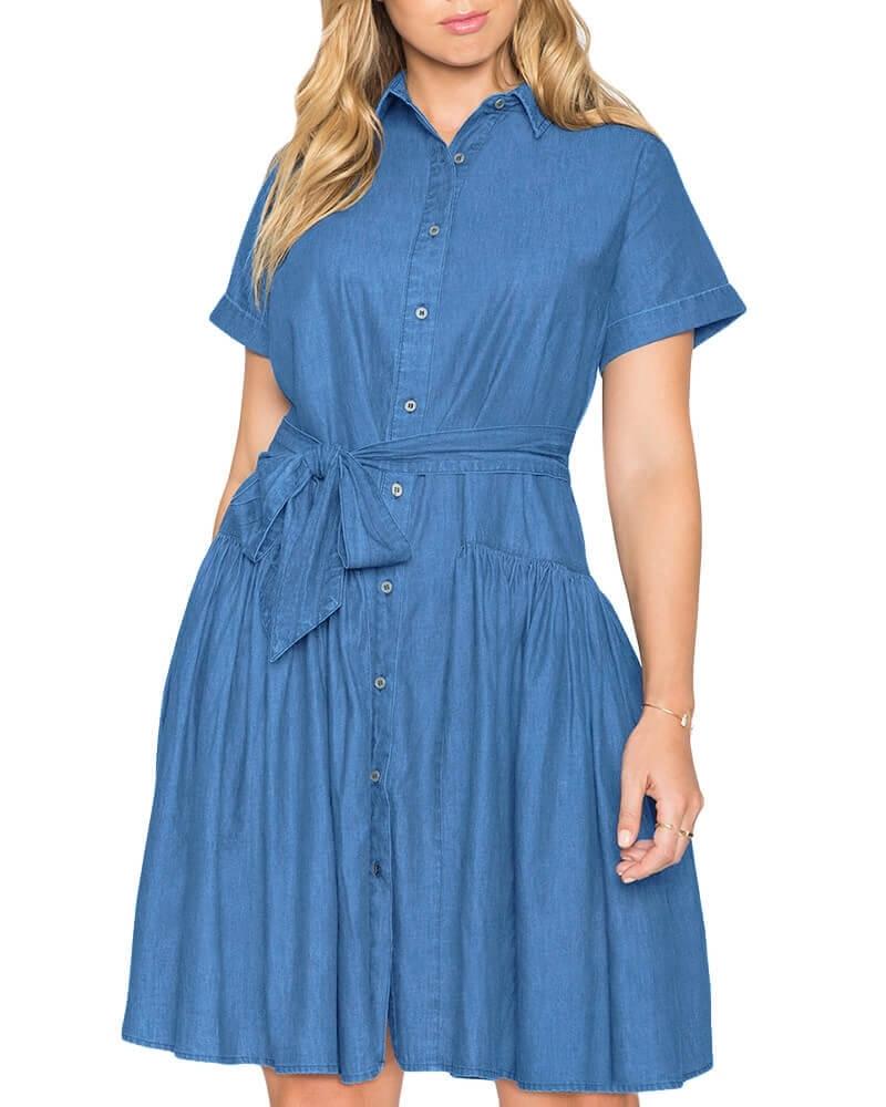 Randall Girly Gathered Denim Dress
