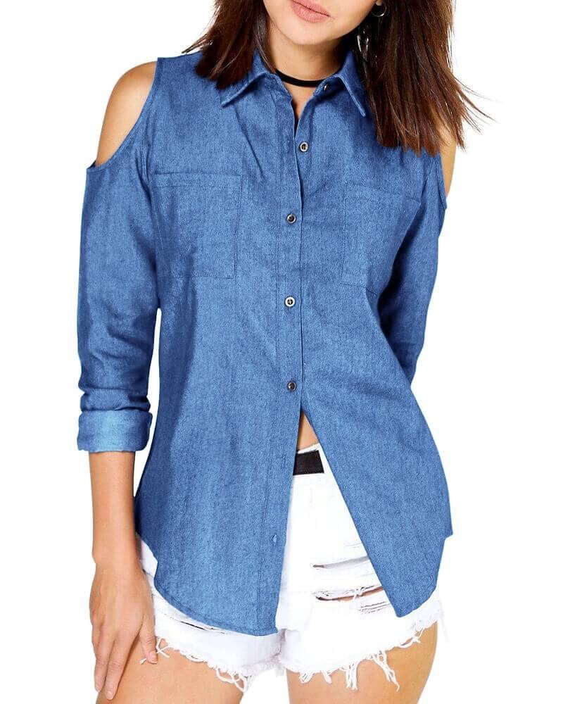 Isabel Cold Shoulder Denim shirt