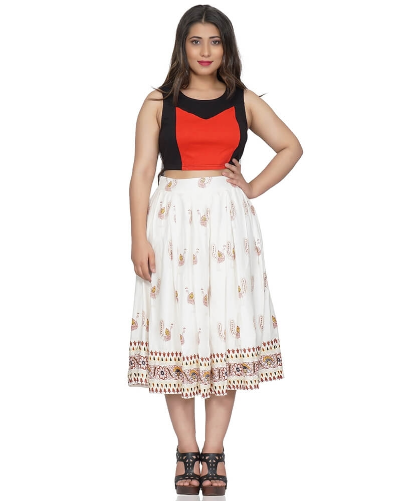 Designer Print Off White Pleated Midi Skirt