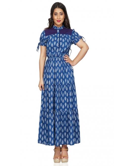 Adorable Flared Blue Designer Maxi Dress