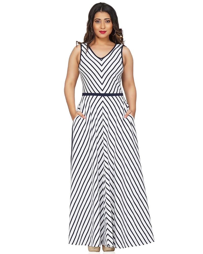 Lovable Asymmetrical Striped White Maxi Dress