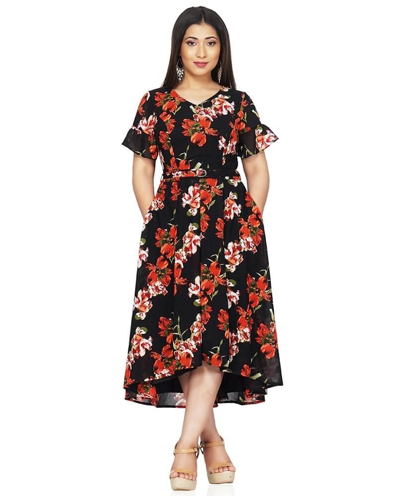 Black and Orange floral print flared dress