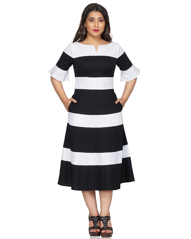 Monochrome Black and White A-Line Dress