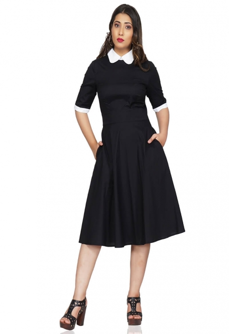 Classic Black Fit and Flared Dress