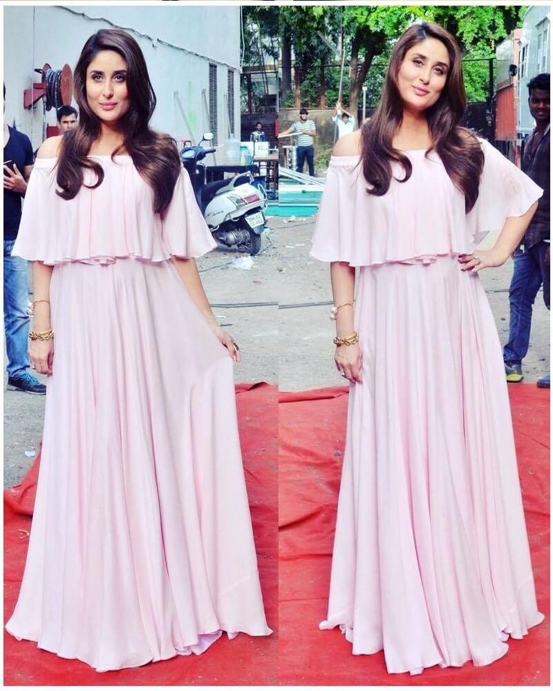 Kareena Kapoor Cute Pink Cape Dress