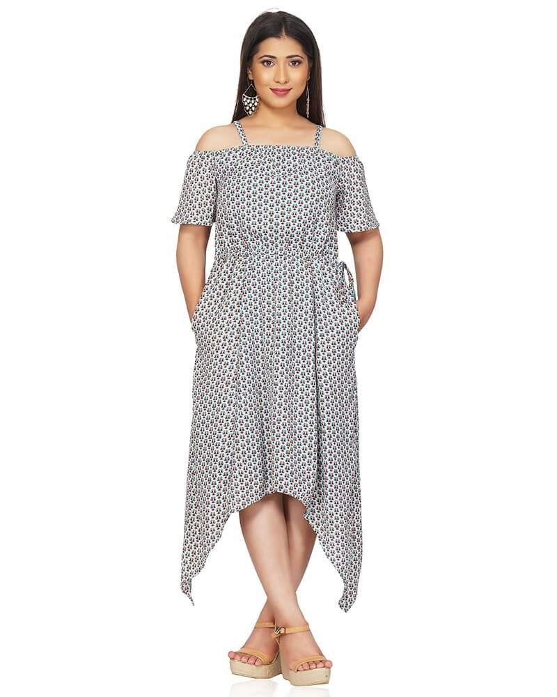 Off Shoulder Printed Asymmetrical Dress