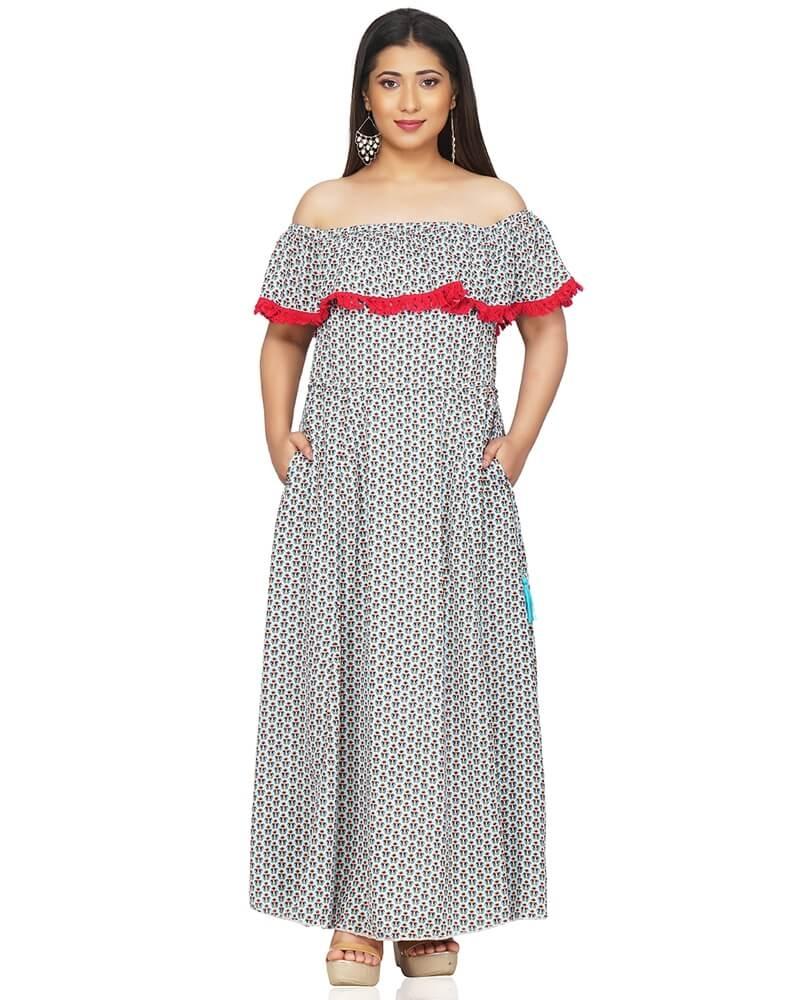 Printed Off Shoulder Long Maxi Dress
