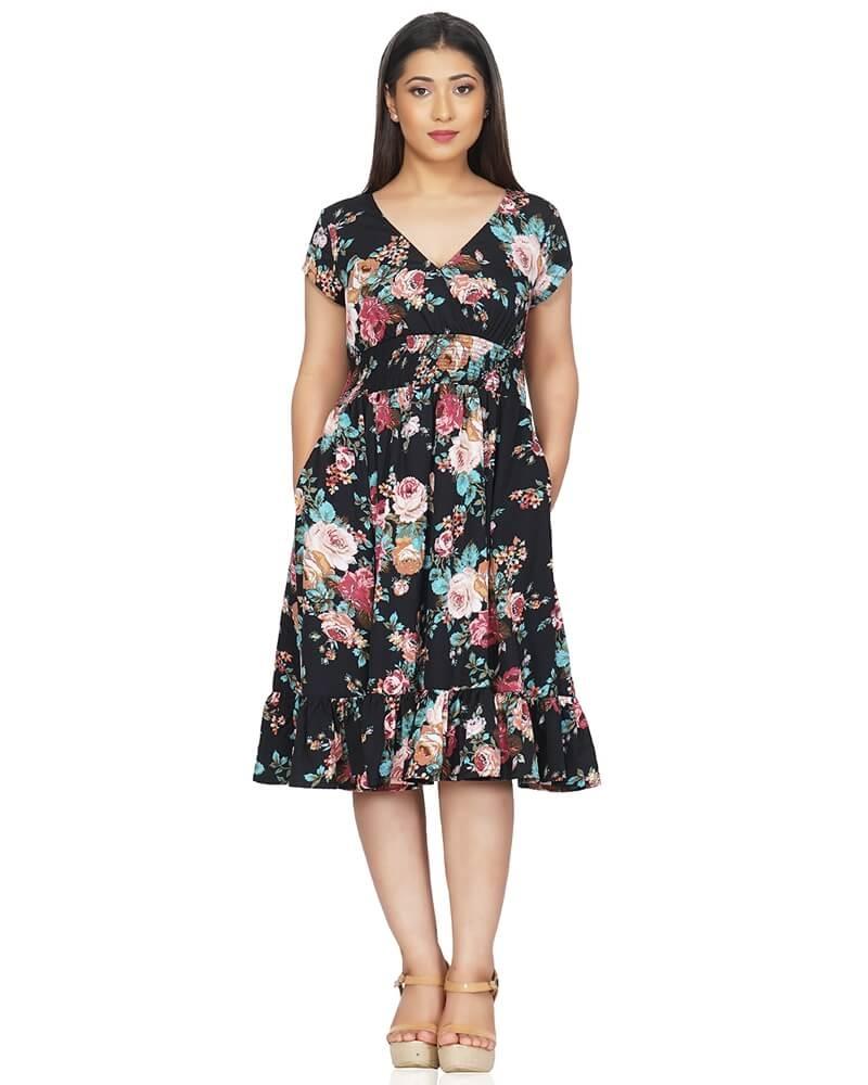 Black Flared and Frilled Floral Dress