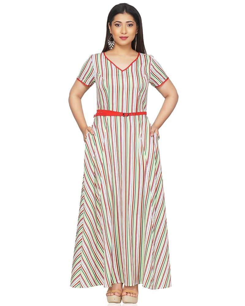 Striped Multi Color Maxi Dress