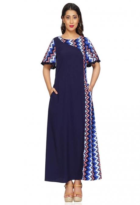 Navy Blue  Print Maxi Dress