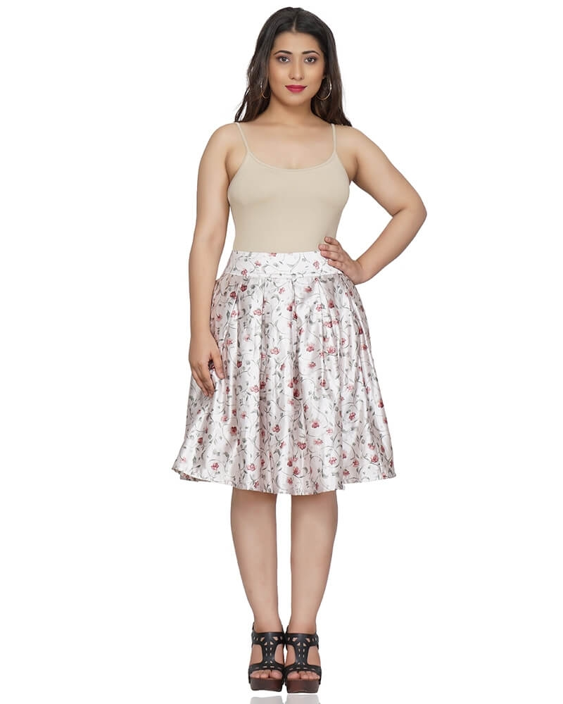 White Satin Floral Print Skirt
