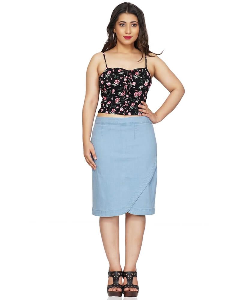 Blue Denim Short Skirt