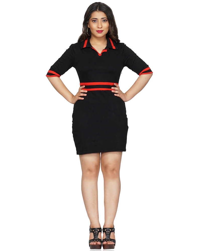 Black and Red Collar Dress