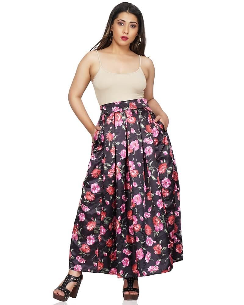 Black Floral Print Maxi Skirt