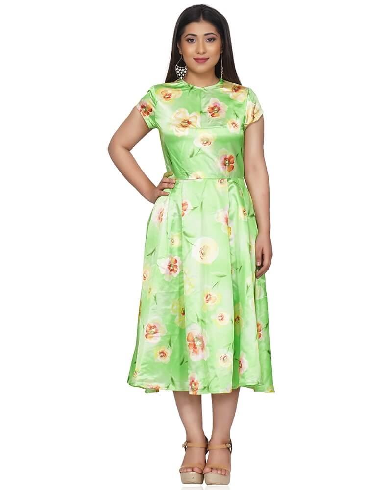 FLOWER PRINTED GREEN SATIN DRESS