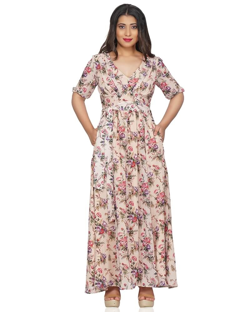FLOWERY PRINTED MAXI DRESS