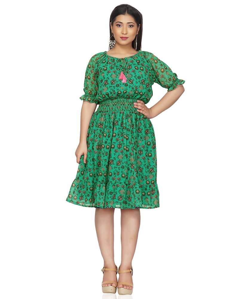 Printed Green Floating Floral Dress