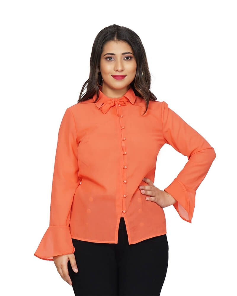 Orange Georgette Formal Shirt
