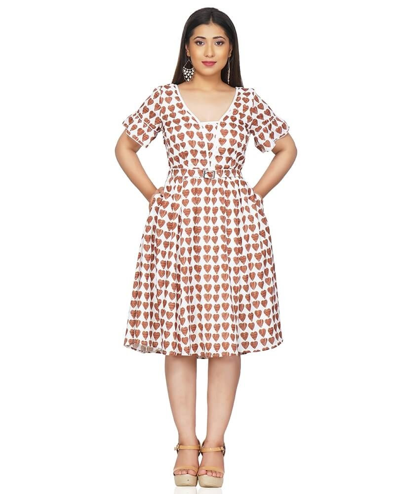Heart Print Pleated Dress