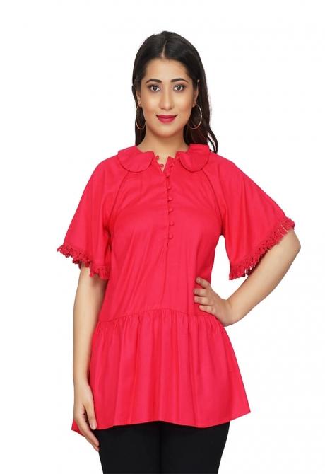Rose pink Ruffle Sleeve Tunic Top