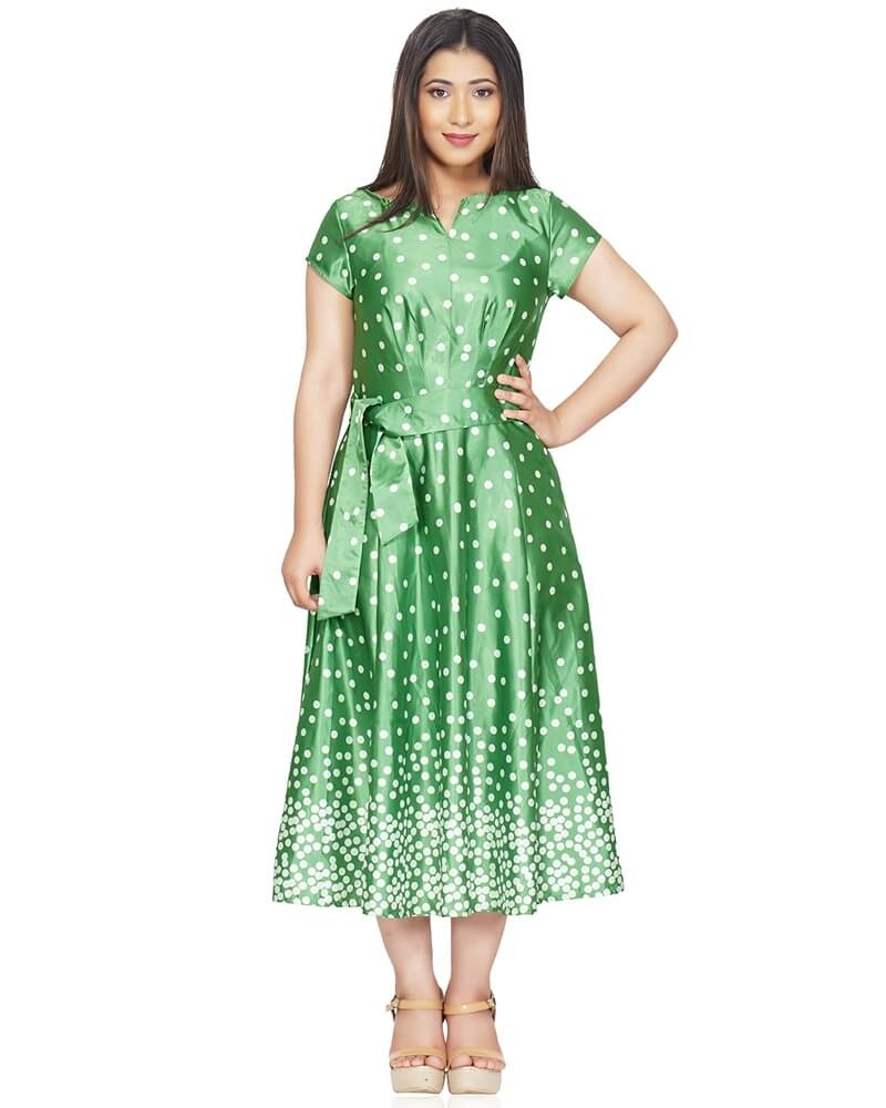 Long Polka Dot Fit and Flare Green Dress