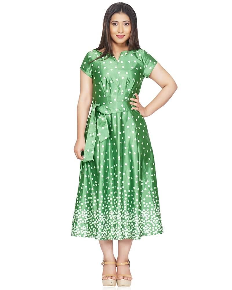 Long Polka Dot Fit and Flare Green Dress