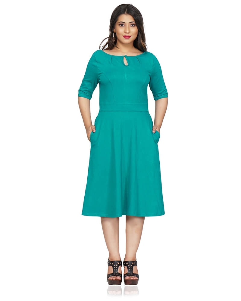 Green Fit and Flare Dress with Sleeves
