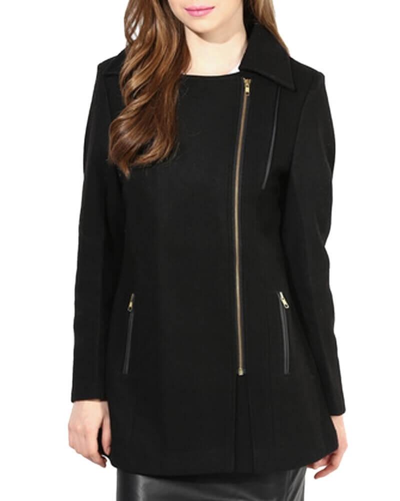 Black Solid Winter Jacket