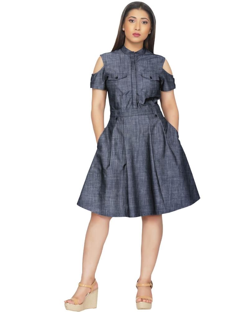 Cold Shoulder fit and fared short dress