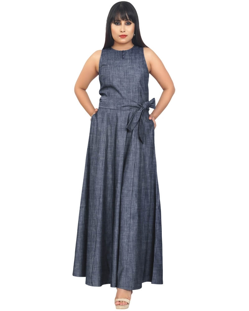 PRETTY CHAMBRAY LONG DRESS