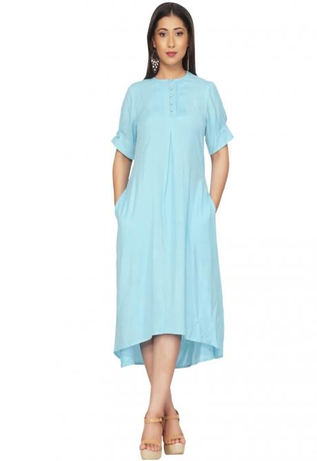 Sky Blue Summer Shirt Dress