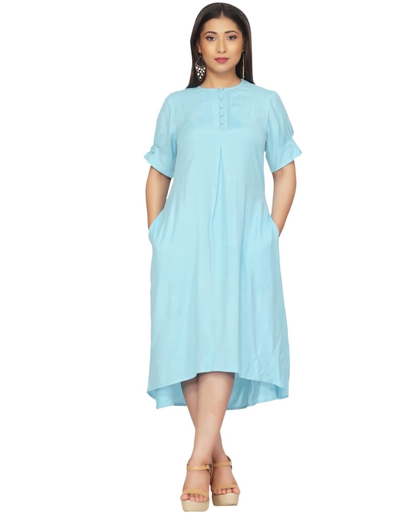 Sky Blue Summer Shirt Dress