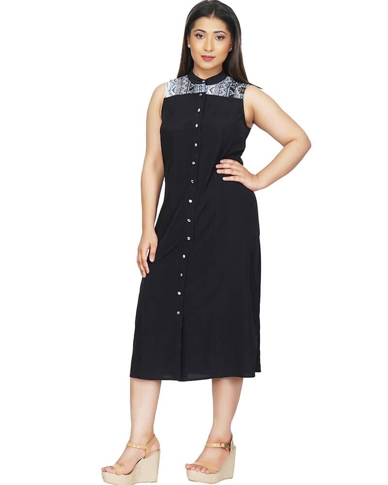 Smart Black A Line Sleeveless Dress