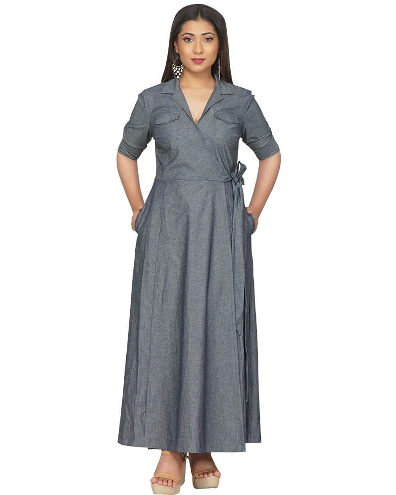 Fit and Flared Dramatic Long Denim Dress