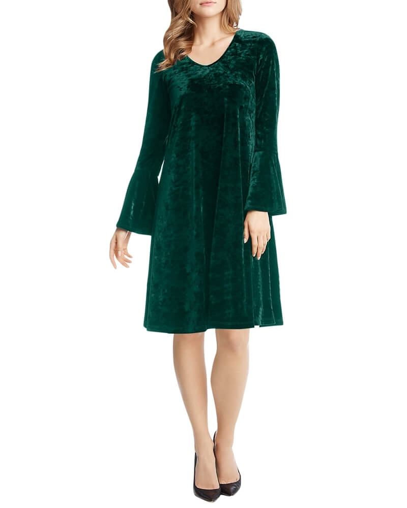 Green Ruffle Sleeve Velvet Shift Dress