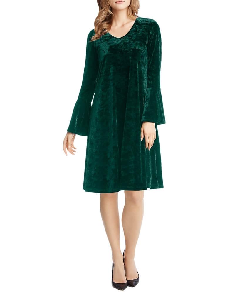 Green Ruffle Sleeve Velvet Shift Dress