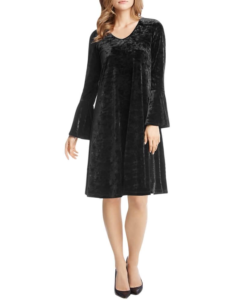 Black Ruffle Sleeve Velvet Shift Dress