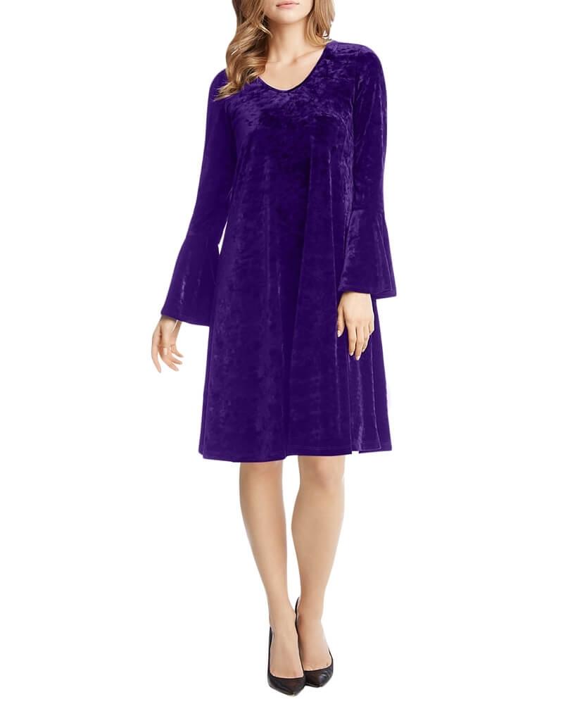 Purple Ruffle Sleeve Velvet Shift Dress