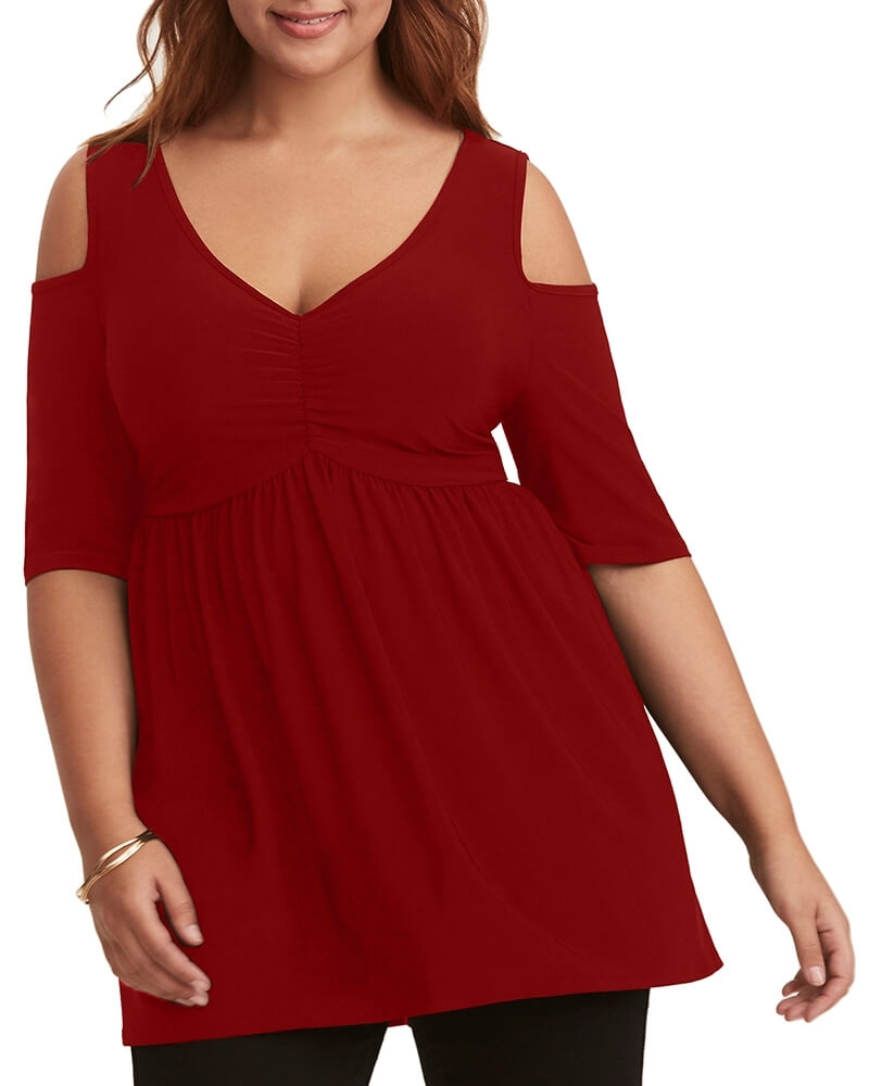 Sizzling Hot Cold Shoulder Tunic Red Top