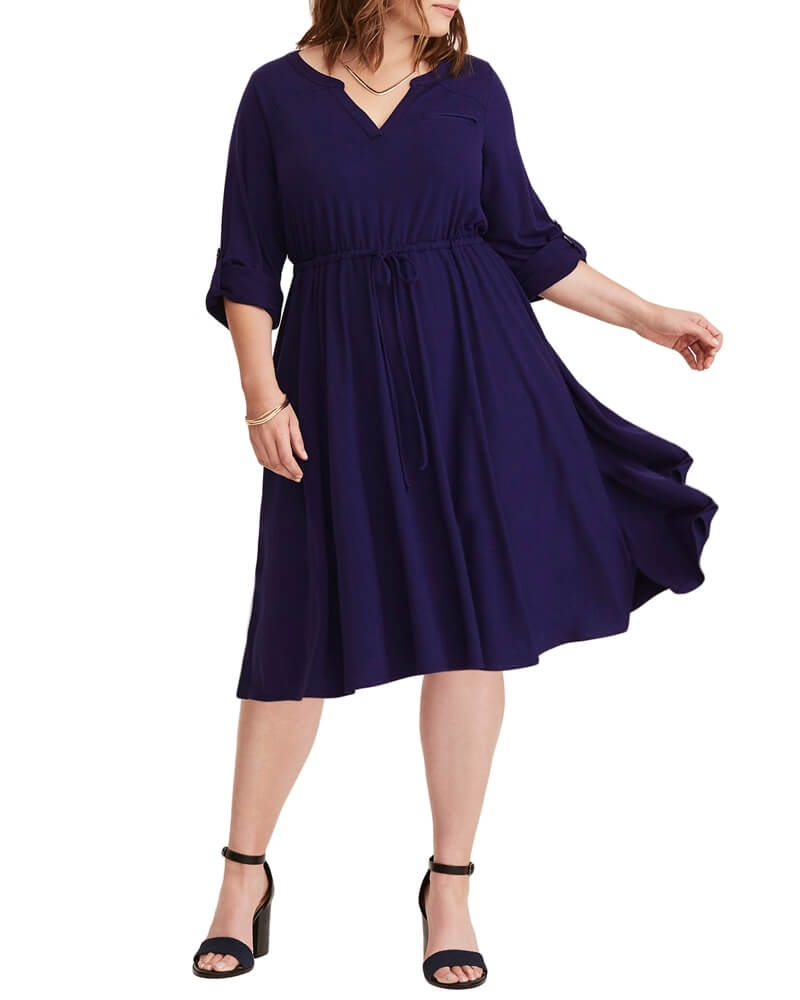 Fit and Flare Dress with Back Cutout Purple